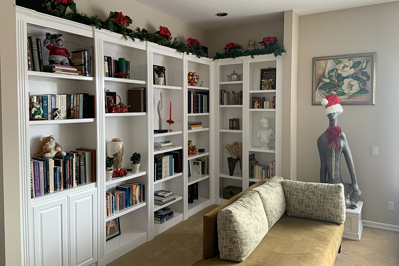 White long bookshelf