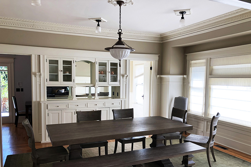 Freshly painted dining room with Bloomington Gray paint