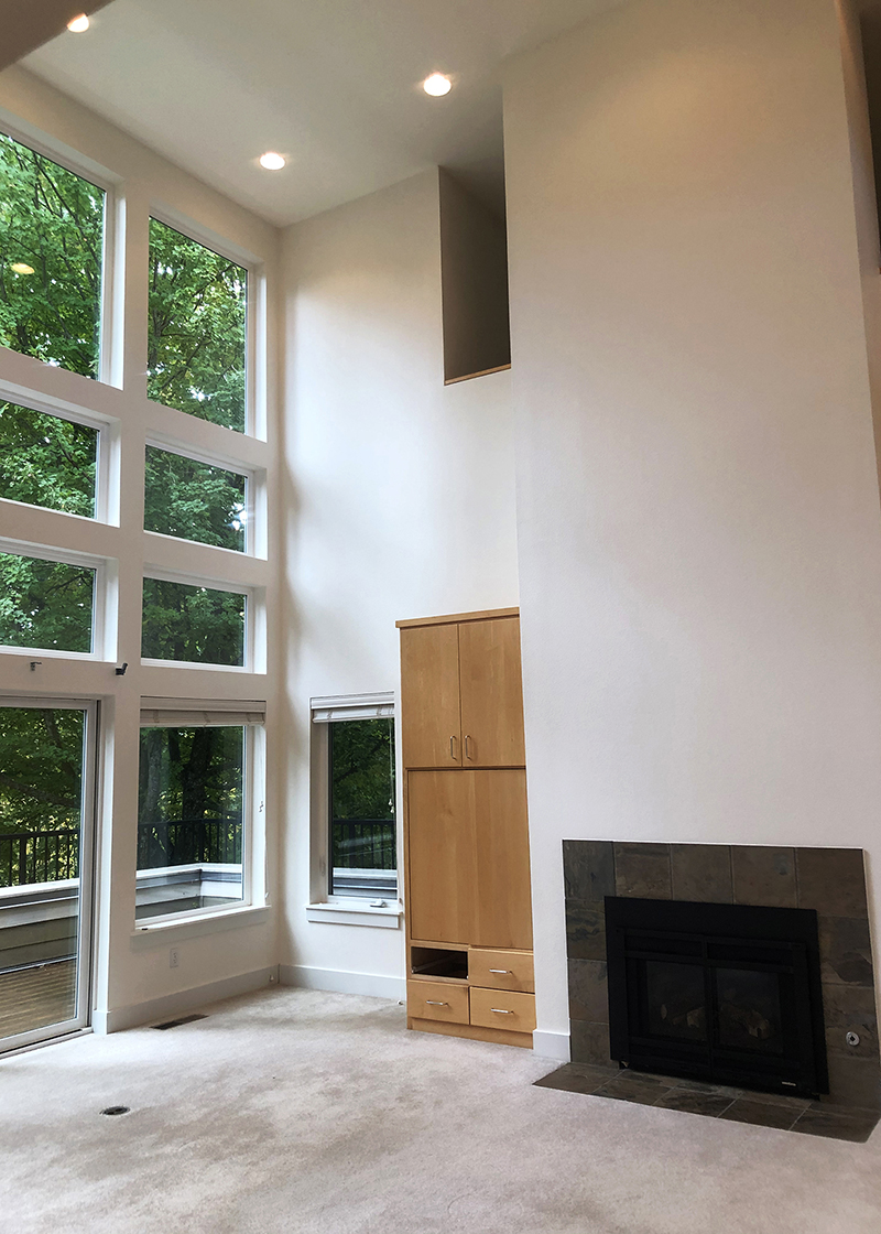 Freshly painted room with White Dove paint | Tall ceilings with big windows