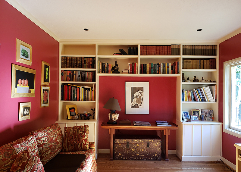 Freshly painted living room with custom red paint