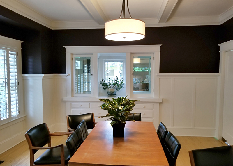 Dining room with black and white walls