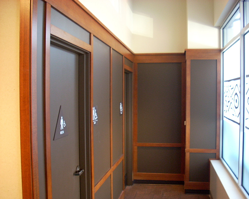 Freshly painted commercial bathrooms exterior