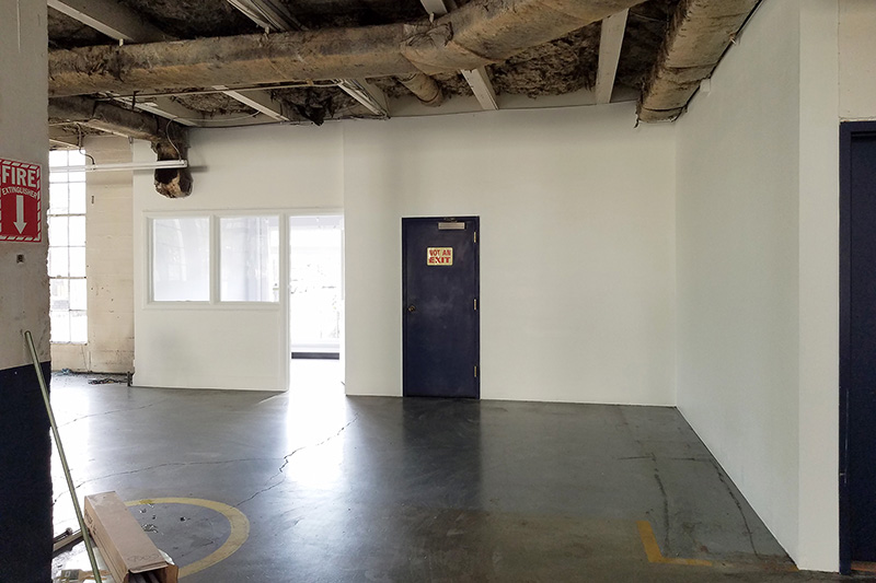 Freshly painted walls in commercial building