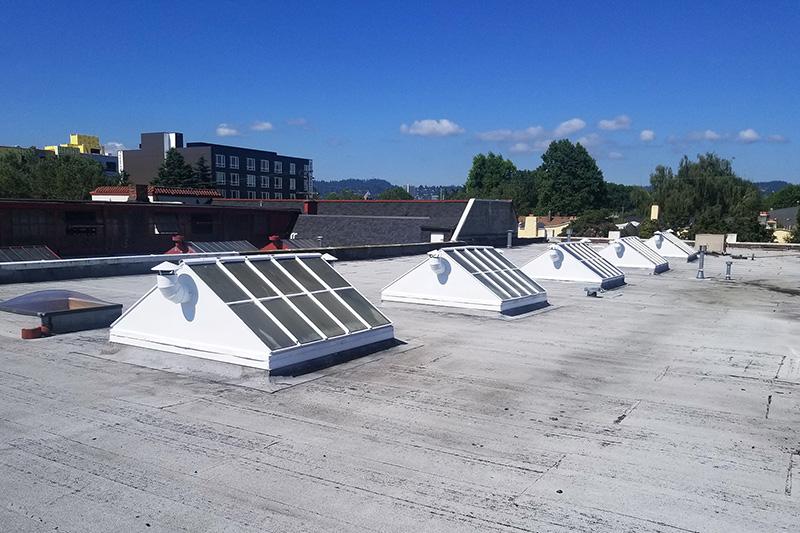 Freshly painted roof windows